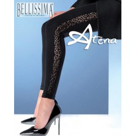 Leggings nero animalier Bellissima Fashion donna