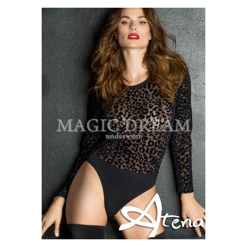 Body intimo donna sottogiacca animalier in tulle floccato MagicDream 7757