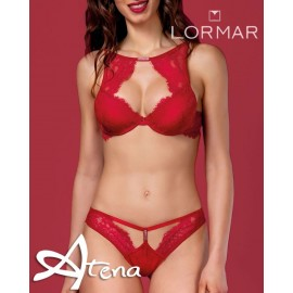 Reggiseno sexy push up Bra top + brasiliana Lormar STA10094 rosso