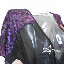 Vestaglia da camera donna in tulle e pizzo bi-color nero viola + perizoma Chilirose CR-4079