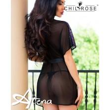 Vestaglia in tulle e pizzo bi-color nero viola + perizoma Chilirose CR-4079