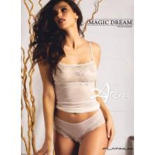 Canottiera + slip brasiliana con pizzo lurex oro 8054 MagicDream - completino intimo donna