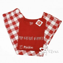 Pigiama donna rosso Christmas Coveri EP3112 pantaloni a quadri