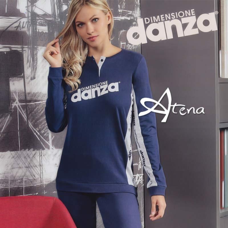 Pigiama donna Dimensione Danza fianco logato navy o grigio DD20169