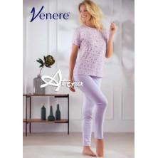 Pigiama donna manica corta confetto con fiori lavanda Venere 3021