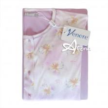 Pigiama donna aperto lilla con fiore giglio Venere 3082