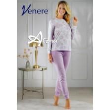 Pigiama donna a serafino lilla con fiore giglio Venere 3081