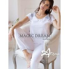 Pigiama Fibra Bamboo MagicDream 8117 con pizzo azzurro perla - pigiami