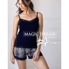 Pigiama donna animalier top + shorts Blu e grigio MagicDream 8120