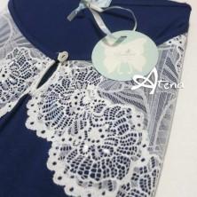 Pigiama made in Italy Top spalla larga e short in viscosa blue 8759 Andra Lingerie