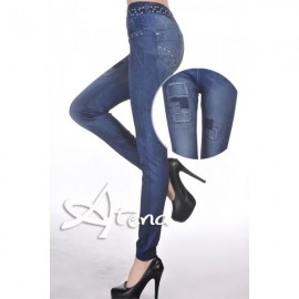 PANTACOLLANT FINTO JEANS 7931 BLU SCURO