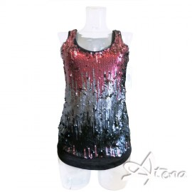 Top glitter in paillettes donna