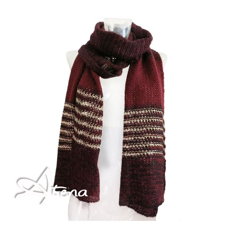 Sciarpa bordeaux in Mohair con lurex Oro