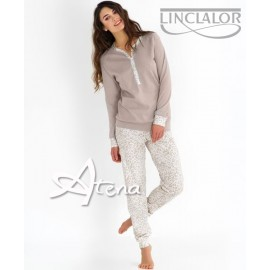 Pigiama donna Linclalor interlock animalier Sahara 92817